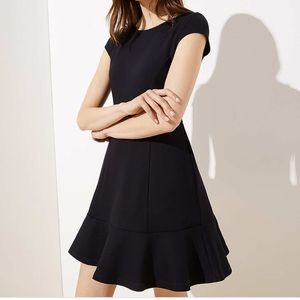 NWT Black Ponte Flounce Flare Dress